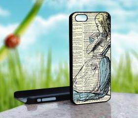 ALICE IN WONDERLAND Vintage - Design on Hard Case for iPhone 5 Black Case Cover - Please Leave note for the case color: White Case or Clear Case